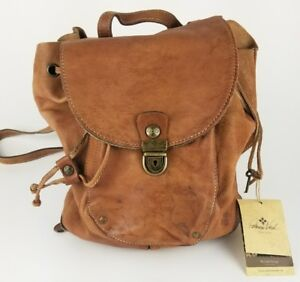Patricia Nash Leather Backpack Distressed Tan ** NEW WITH DEFECTS ** NO KEY