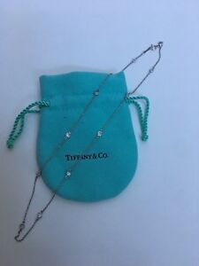 "Tiffany & Co Elsa Peretti Diamond by Yard 12 Diamond 16"" Platinum Necklace"