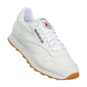 Reebok Classic Leather CL White Red Gum Fashion Mens Shoes Sneakers 49797