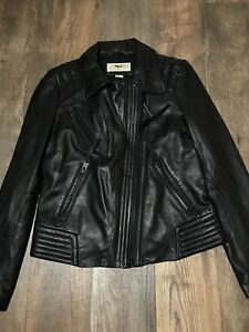 New Michael Kors genuine leather moto  jacket asymmetrical zip black Sz Small S