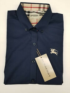 Men's Navy Burberry Shirt Size XL Mens Button up Navy Blue Burberry Shirt XL