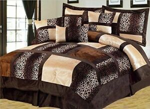 Brown amp; Black Safari Animal Leopard Print Comforter Set 7 Piece Suede