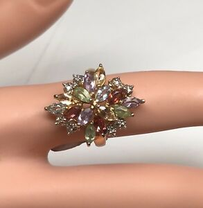 925 Sterling Silver Gold Plated Multi Color Stone Cocktail Ring Sz 5