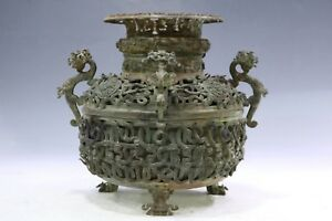 Chinese Beautiful Bronze Four Dragon Handles & Lotus Cover Vessel