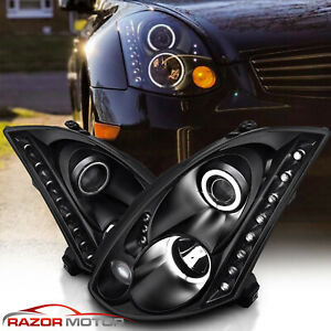 For 2003 2007 Projector Black Headlights Pair LED Halo for Infiniti G35 Coupe $262.13