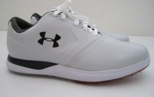Mens 12E Wide Under Armour Spikeless SL Performance light gray golf shoes
