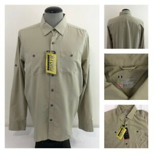 NWT Under Armour Mens L Vented Hydro UPF Wicking Quick Dry Loose Fit Khaki Shirt