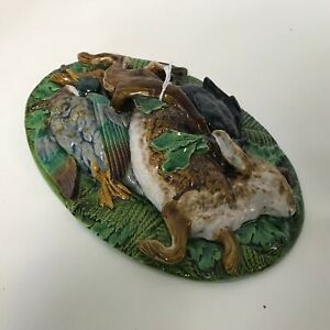 Antique 19th Century Minton Majolica Game Dish Rabbit Duck Lid only