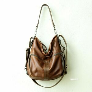 Rough & Tumble Espresso Brown Leather Double Zip Hobo Bag backpack crossbody