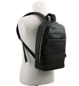 Coach Men's Charles Slim Backpack Bag Sport Calf Leather Black F54135 New NWT