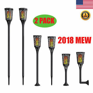 2x 99 LED Solar Torch Light Flickering Dancing Flame Garden Waterproof Yard Lamp