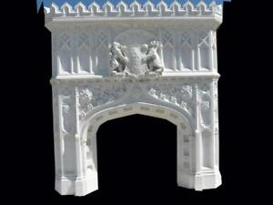 INCREDIBLE HAND CARVED MARBLE GOTHIC CHURCH DESIGN FIREPLACE MANTEL - M99