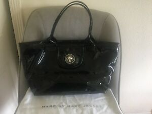 Marc By Marc Jacobs Black Patent Leather Tote Large Handbag Purse