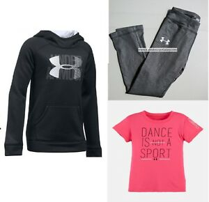 UNDER ARMOUR GIRLS 6 ~ LEGGINGS ~ HOODIE SWEATSHIRT ~ DANCE PINK BLACK $100