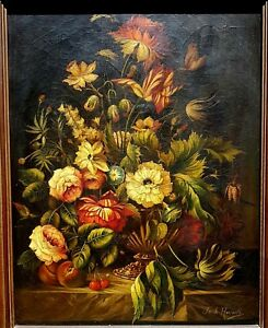 Old Victorian oil painting signed Jacob Howarth Still Life