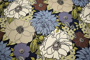 100% Cotton Upholstery Drapery Canvas Duck Blue Floral Tropical Fabric 55