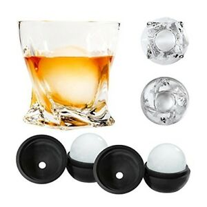 AtlasCo Premium Whiskey Glasses with ADD-ON Ice Ball Molds – Set of 2 – Gif