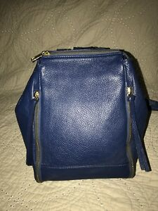 Laura Di Maggio Blue Leather Backpack Zipper Bag Purse  EUC