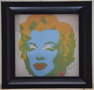 "Framed. Andy Warhol ""Marilyn Monroe"" from a 1982 VIP Catalog. Pink-Blue-Orange"