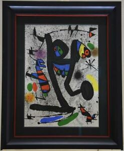 Framed. Joan Miro Signed Original Lithograph black lines with multiple colors $1399.00