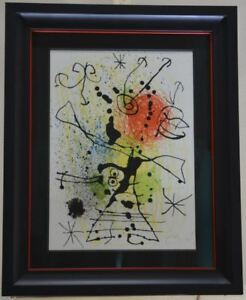 Framed. Joan Miro Signed Original Lithograph black lines with sprays of red $1199.00