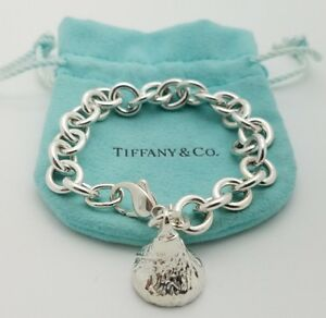 Tiffany Co Sterling Silver 925 Hershey Kiss Charm Rolo Chain Bracelet 7' in