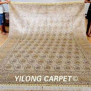 Yilong 8'x11.5' Floor Silk Rugs Hand-knotted Carpets Boteh Design Handmade 0955