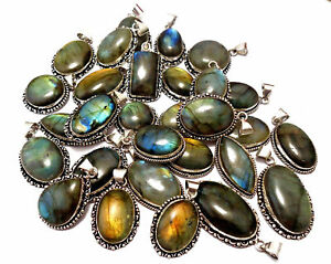 Bulk Sale !! Lot 100 PCs. NATURAL LABRADORITE 925 Silver Plated Necklace Pendant