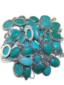 Bulk Sale 50 PCs. TURQUOISE 925 Gemstone Silver Plated Necklace Pendant Jewelry