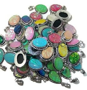 Bulk Price Lot 100 PCs. Multi OPALS 925 Gemstone Silver Plated Necklace Pendant