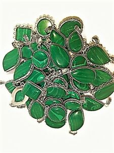 Bulk Sale 20 PCs. MALACHITE 925 Gemstone Silver Plated Necklace Pendant Jewelry