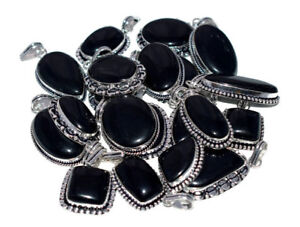 Bulk Lot !! 100 PCs. BLACK ONYX 925 Sterling Silver Plated Necklace Pendant