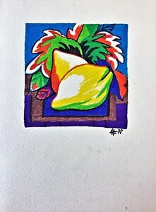 Cuban Art. Painting by Jose Alonso. Untitled 1978. Original signed. Mixed media $80.00