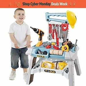 Young Choi's Kids Construction Toy Workbench for Toddlers 83 Pcs Kids Power Wor