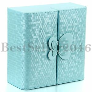 Fashion Womens Blue Butterfly Jewelry Box Necklace Rings Organizer Case Holder $16.99