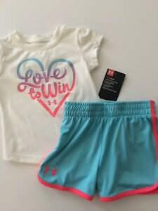 Under Armour Girls Top Shorts Outfit Size 12 18 24 Months White Aqua Blue Active $19.95