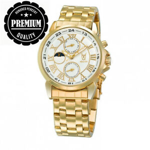 Konigswerk Men's 42mm Gold-Tone Metal Bracelet & Case Quartz White Dial...