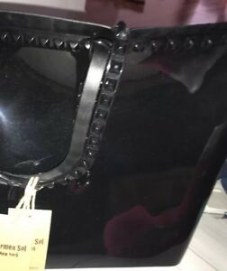 NEW Carmen Sol NEWYork LARGE Black Patent Leather Tote HandBag+Charm Perfect NWT