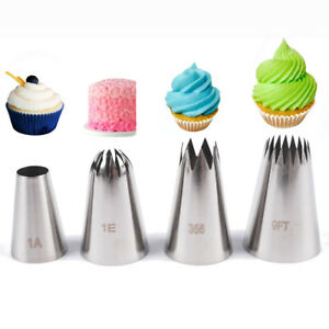 4x Large Size Icing Piping Nozzles Tips Pastry Cake Sugarcraft Decorating Set