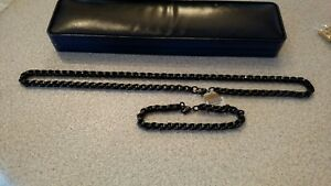 Men's Stainless Steel Black Necklace and Bracelet Set - Reduced!