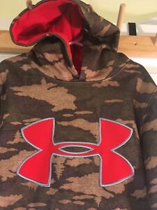 Under Armour STORM 5T Caliber Hoodie Red Camoflauge CAMO Youth XS COLDGEAR 5 6 7