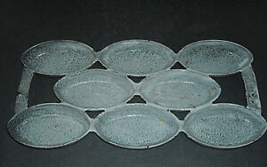 Early Cast Iron Grey Graniteware 8-Count Muffin Cornbread Tin Enamel Ware