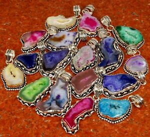 Bulk Price !! Lot 50 PCs. Solar Druzy Quartz 925 Silver Plated Necklace Pendant