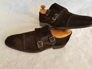 Saks Fifth Avenue Beckham Brown Monk Strap Designer Dress Shoes Mens Size 9M