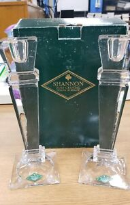 NEW IN BOX SHANNON CRYSTAL 10 CRYSTAL CANDLESTICKS IN THE EMPIRE PATTERN