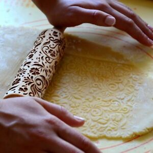 Pattern flowers Rolling Pin Wood Engraved Cooking Gift Mans Womans Free Shipping