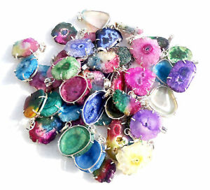 Bulk Price !! 100 PCs. Multi Druzy Gemstone 925 Silver Plated Necklace Pendant