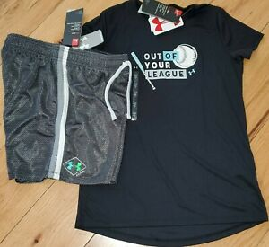 Under Armour gray logo top & black patterned shorts NWT girls' L YLG