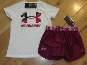 Under Armour logo top & patterned black cherry shorts set NWT girls' S YSM