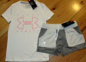 Under Armour fitted logo top & gray white shorts NWT girls' M YMD $27.89